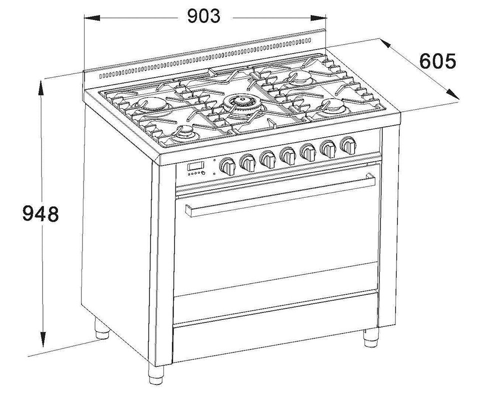 DiLusso 900mm Freestanding dual oven gas electric