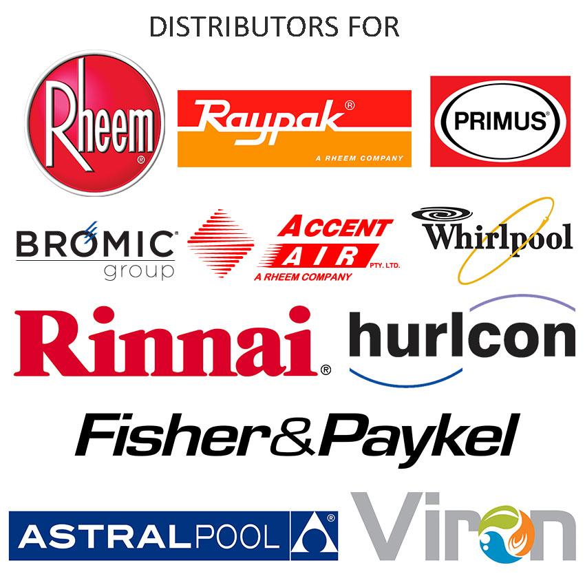 Distributors for bromic, rheem, raypak, primus, whirlpool, fisher and paykel, viron, astral pool