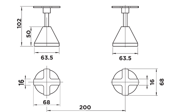 OU1015 Oui Wall Stops DImensions