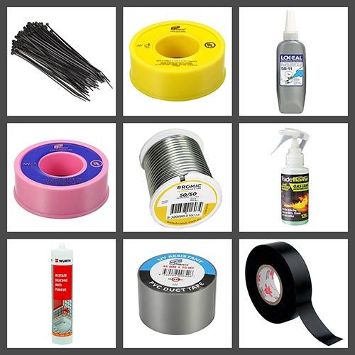 consumables, gas, tape, sealants, solder, silicon