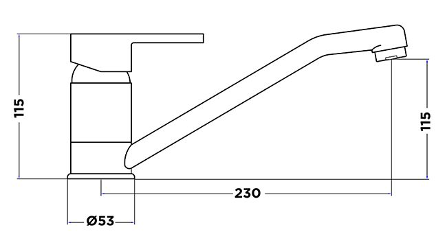 Ah1030 Fixed Basin Mixer Dimensions
