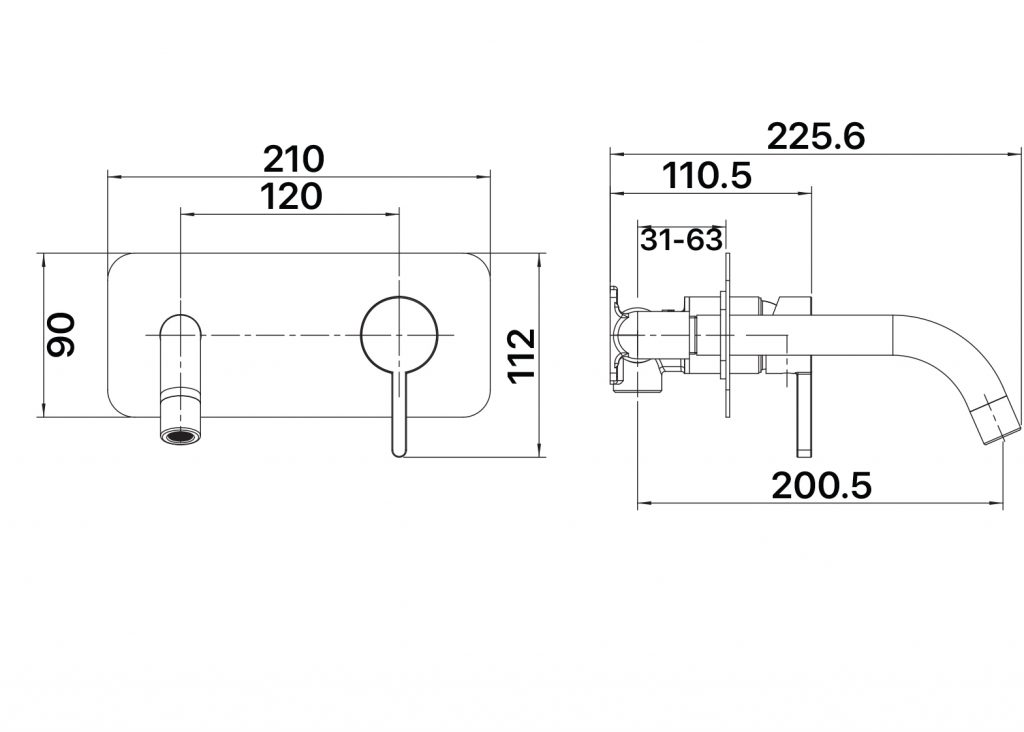 Aloe Wall Plate Mixer Dimensions