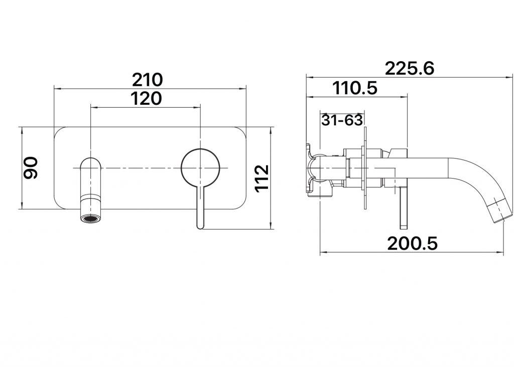 Aloe Wall Plate Mixer Dimensions