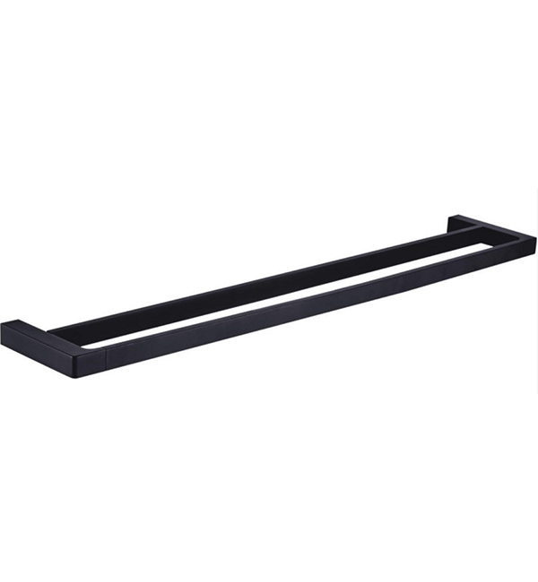 700mm Double Black Towel Rail