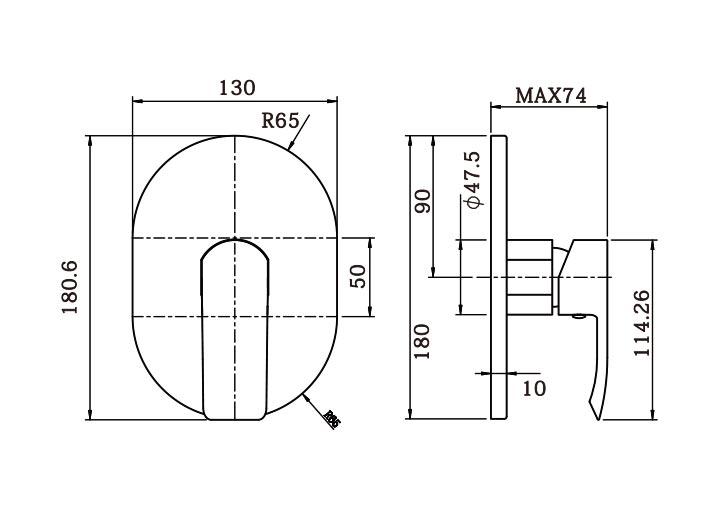 Italia Azzurro Shower Mixer dimensions