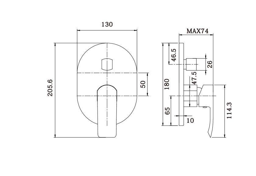Italia Azzurro Shower Diverter Mixer Dimensions