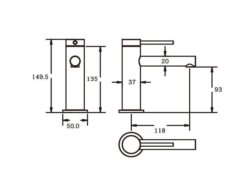 Roxi Basin Mixer CM dimensions
