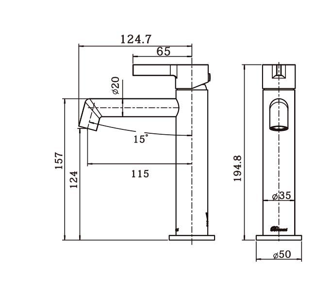 Tini Basin Mixer BN dimensions