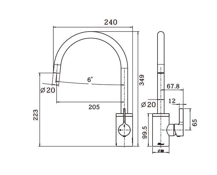 Tini Round Gooseneck Sink Mixer