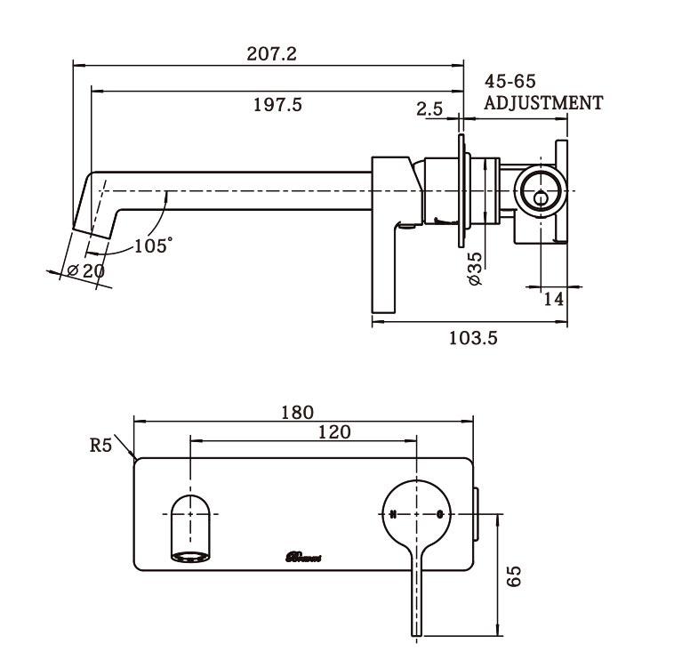 Tini Wall Plate Mixer BN