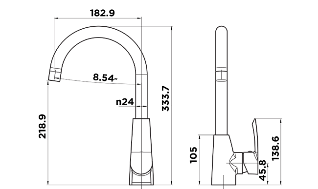 C1000 - Contour Sink Mixer DIMENSIONS