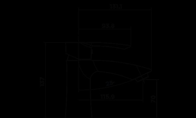 C1005 - Contour Basin Mixer DIMENSIONS