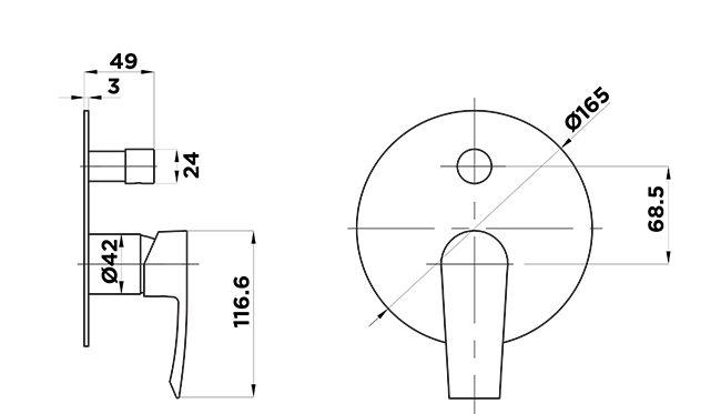 C1025 COntour Shower Diverter Mixer Dimensions