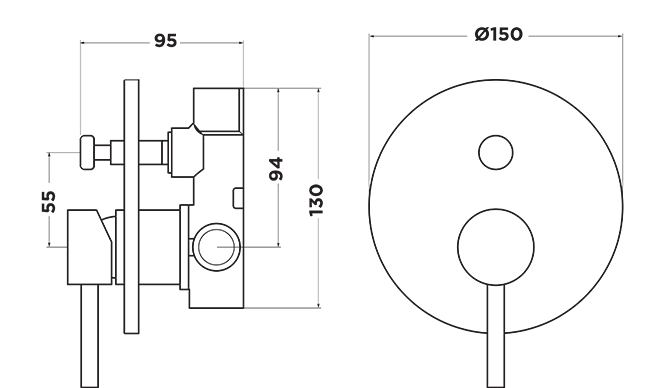 DT1020 Dahlek Shower Diverter Mixer DIMENSIONS