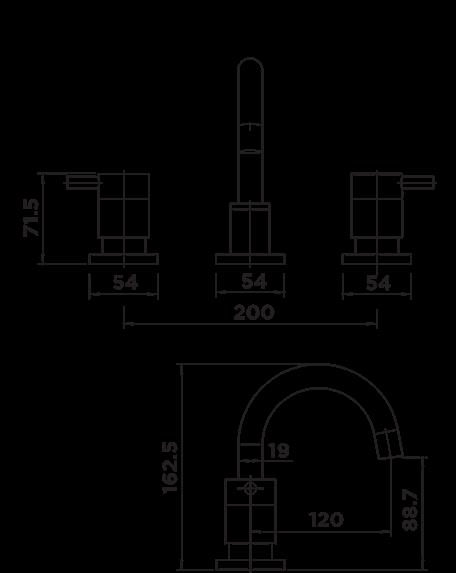 D1025 Dahlek Basin Set DIMENSIONS