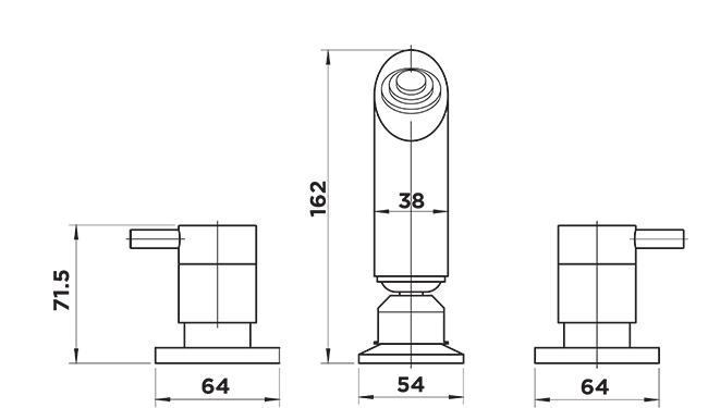 D1030 Dahlek Shower Set DIMENSIONS