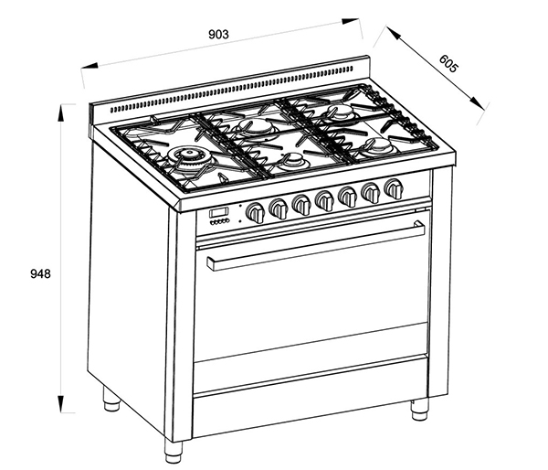Di Lusso Freestanding Cooker - 900mm - Dual Fuel - Cutout dimensions