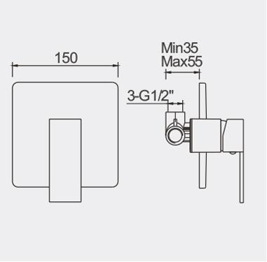 Ettore Bath Shower Mixer Dimensions
