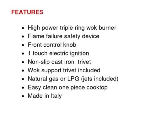 EU1005 - 30cm Gas Wok Cooktop Features