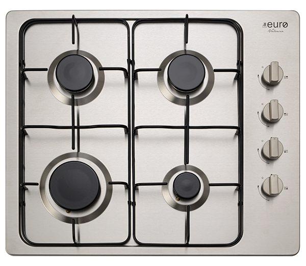 EU1010 - Euro 60cm Gas Cooktop, stainless steel finish, enamel trivets