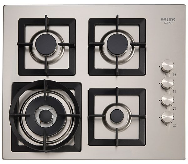 EU1025 - Gas Cooktop and Wok: stainless Steel, cast iron trivets, made in italy