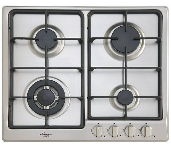 EU1035 - 60CM gas cooktop: stainless steel with cast iron trivets