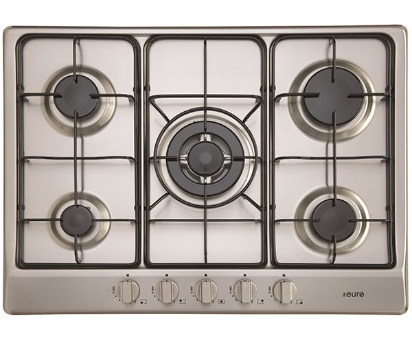 EU1040 - 70CM Gas Cooktop : Stainless Steel with cast iron trivets