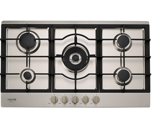 EU1045 - 90cm Gas Cooktop ; Stainless steel with cast iron trivets