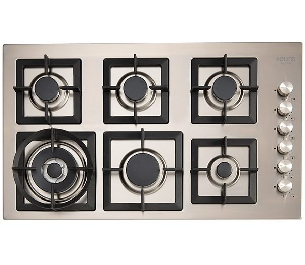 EU1046 - 90cm gas cooktop and wok : stainless steel with cast iron trivets. Made in Italy.