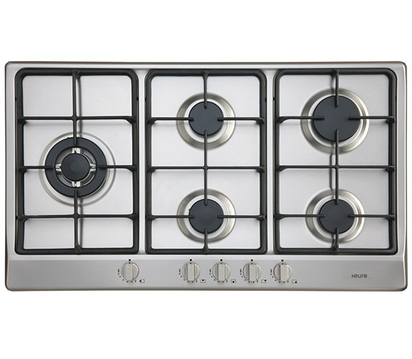 EU1050 - 90cm Gas Cooktop and Left side wok burner : stainless steel with cast iron trivets