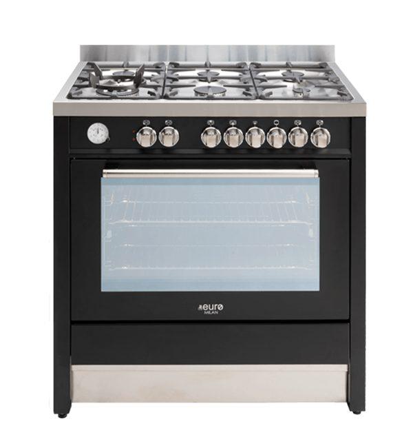 EUR1045 - Euro 90cm Freestanding dual oven satin black