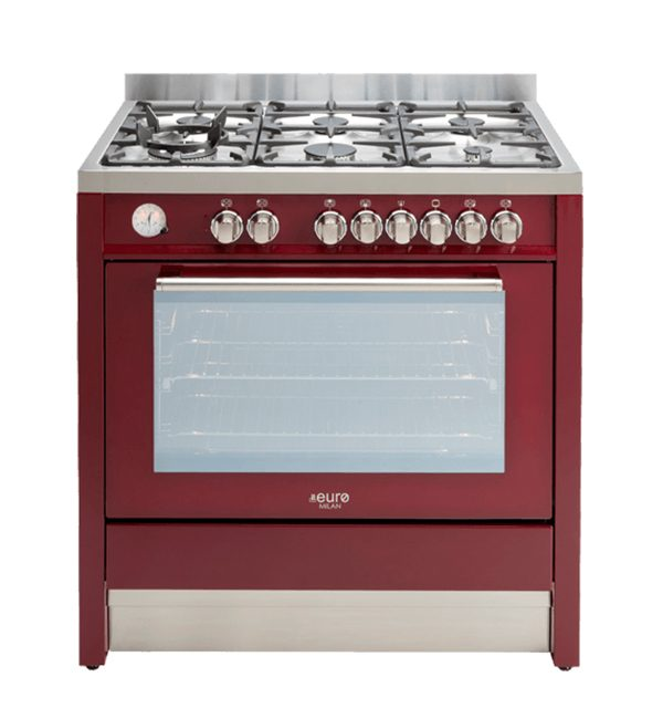 EUR1055 - Euro 90cm Freestanding dual oven - burgundy
