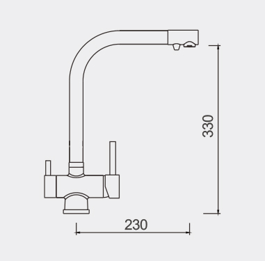 FIL1000 Filtered Water Tap Dimensions