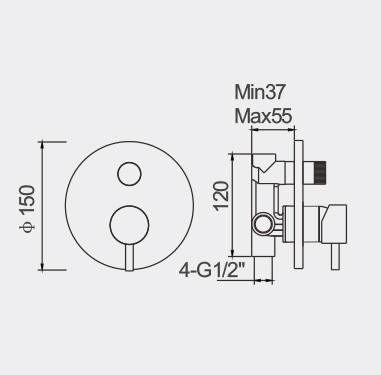 Fosca Black Bath Shower Mixer with Diverter Dimensions