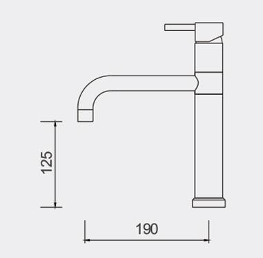 Fosca High Rise Basin Mixer Dimensions