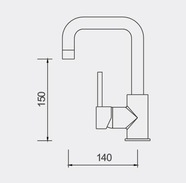 Fosca Swivel Basin MIxer Dimensions