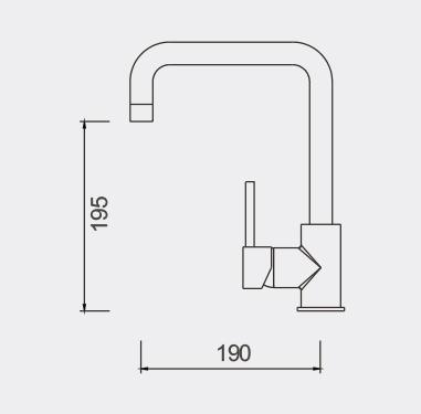 Fosca Gooseneck KItchen Mixer Dimensions