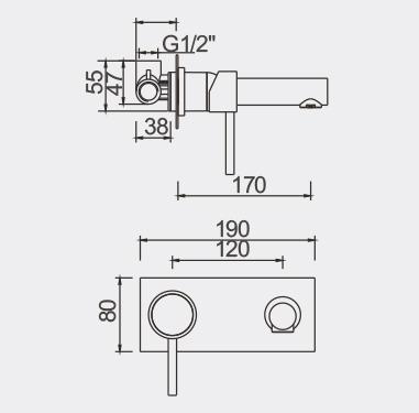 Fosca Wall Mounted Bath Mixer Dimensions