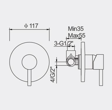 Fosca Bath / Shower Mixer Dimensions