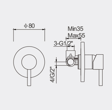 Fosca Small Bath Shower Mixer Dimensions