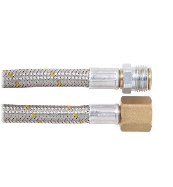 "10mm SS Gas Hose 1/2"" BSPM (loose nut) x 1/2"" BSPFF 1200mm"