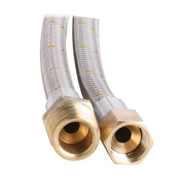 """10mm SS Gas Hose 1/2"""" BSP M x 3/8"""" BSP FF 1100mm"""