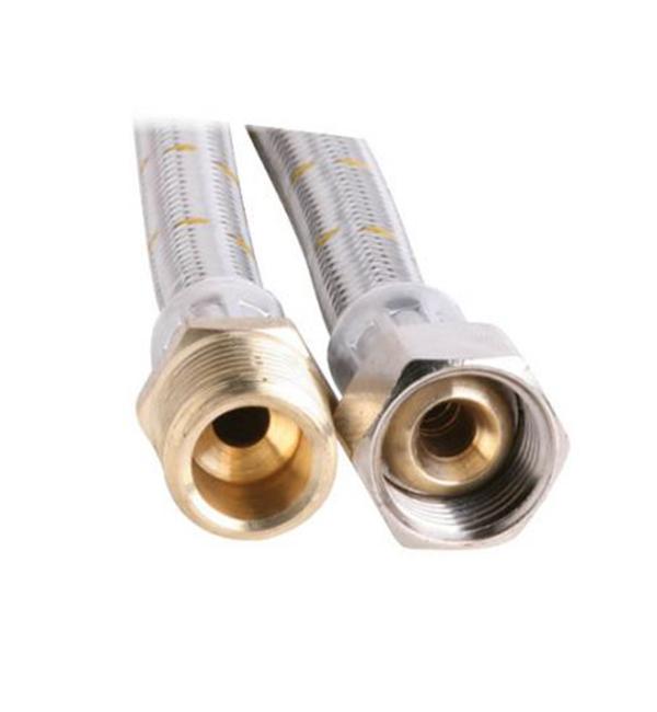 """10mm SS Gas Hose 1/2"""" BSP FC x 1/2"""" BSP M 300mm"""