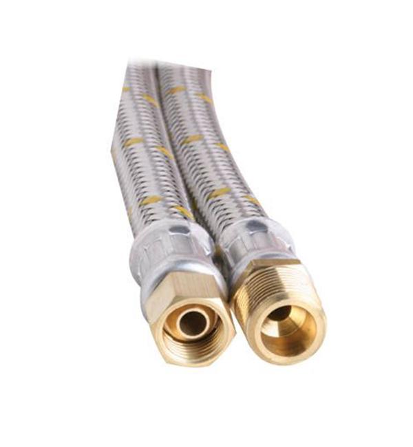 """10mm SS Gas Hose 1/4"""" BSP FC x 3/8"""" BSP M 300mm"""