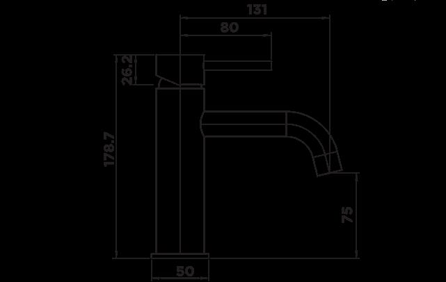 H1015 Holli Basin Mixer Matt Black DIMENSIONS