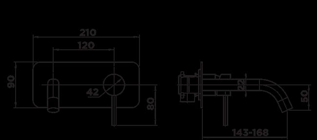 H1035 Holli Wall Plate Mixer Matt Black DIMENSIONS