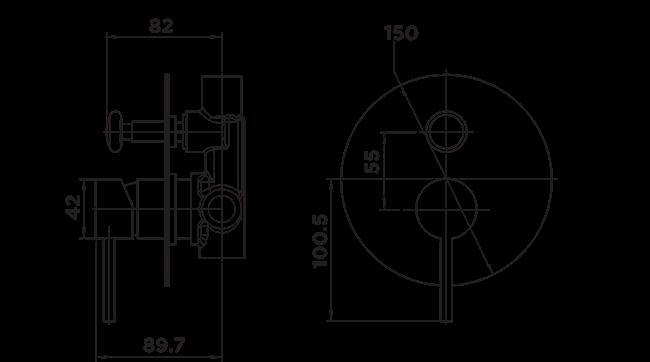 H1040 Holli Shower Diverter Mixer DIMENSIONS