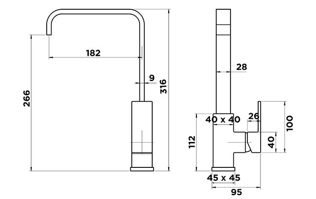 K1005 Kubos Matt Black Sink Mixer Dimensions