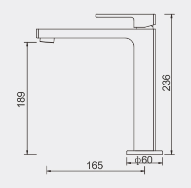 Lucas High Basin Mixer Dimensions