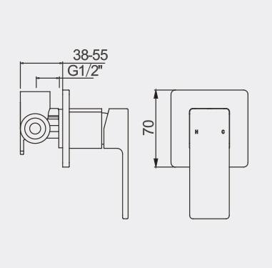 Lucas Black Bath Shower Mixer Dimensions